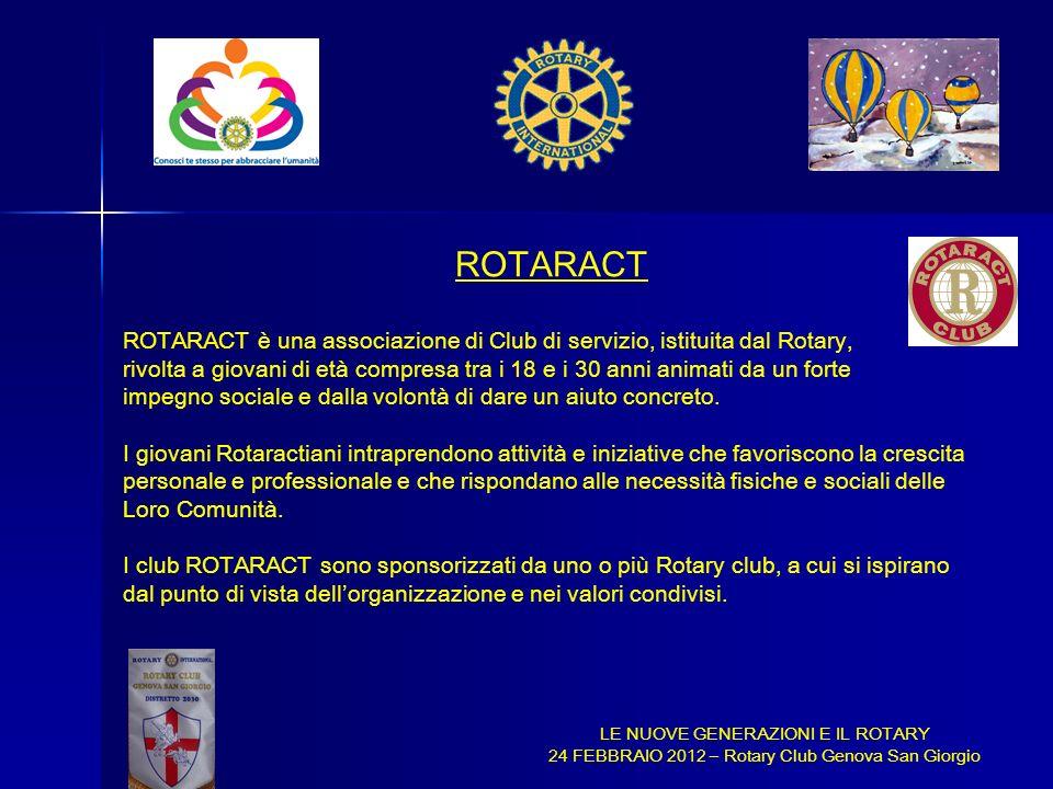ROTARACT ROTARACT è una associazione di Club di servizio, istituita dal Rotary,