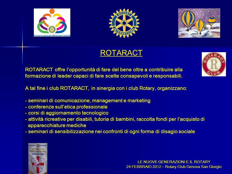 ROTARACT ROTARACT offre l'opportunità di fare del bene oltre a contribuire alla.