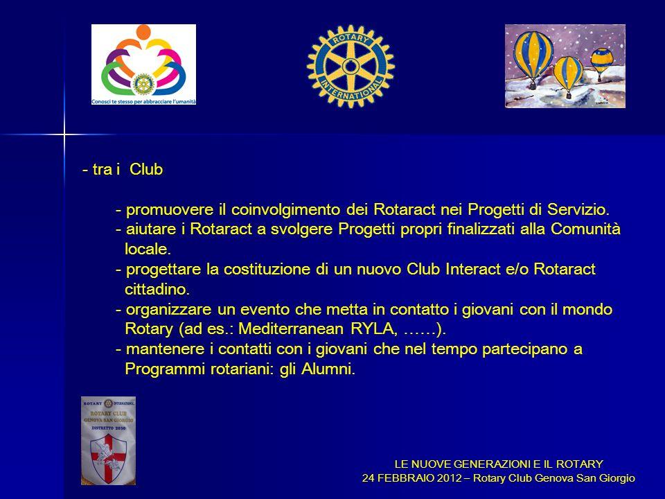 promuovere il coinvolgimento dei Rotaract nei Progetti di Servizio.