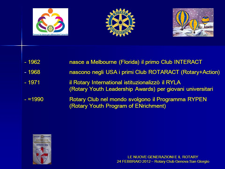 1962 nasce a Melbourne (Florida) il primo Club INTERACT