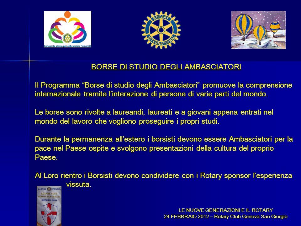BORSE DI STUDIO DEGLI AMBASCIATORI