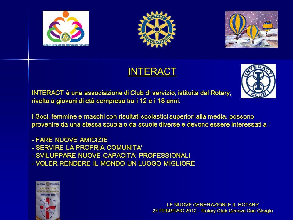 INTERACT INTERACT è una associazione di Club di servizio, istituita dal Rotary, rivolta a giovani di età compresa tra i 12 e i 18 anni.