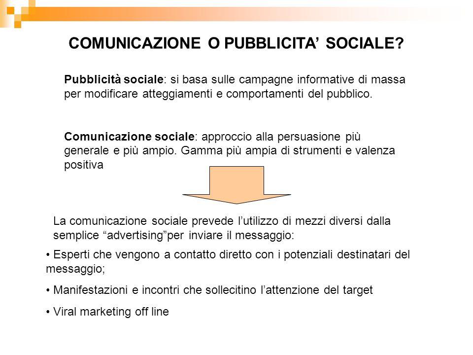COMUNICAZIONE O PUBBLICITA' SOCIALE
