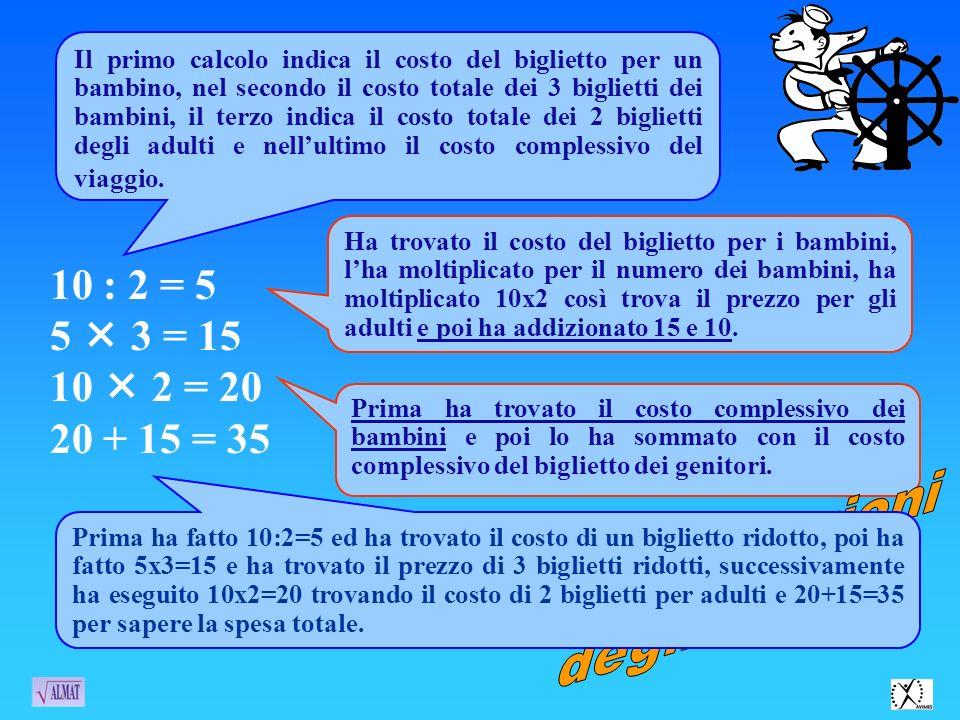 10 : 2 = 5 5  3 = 15 10  2 = 20 20 + 15 = 35 Argomentazioni