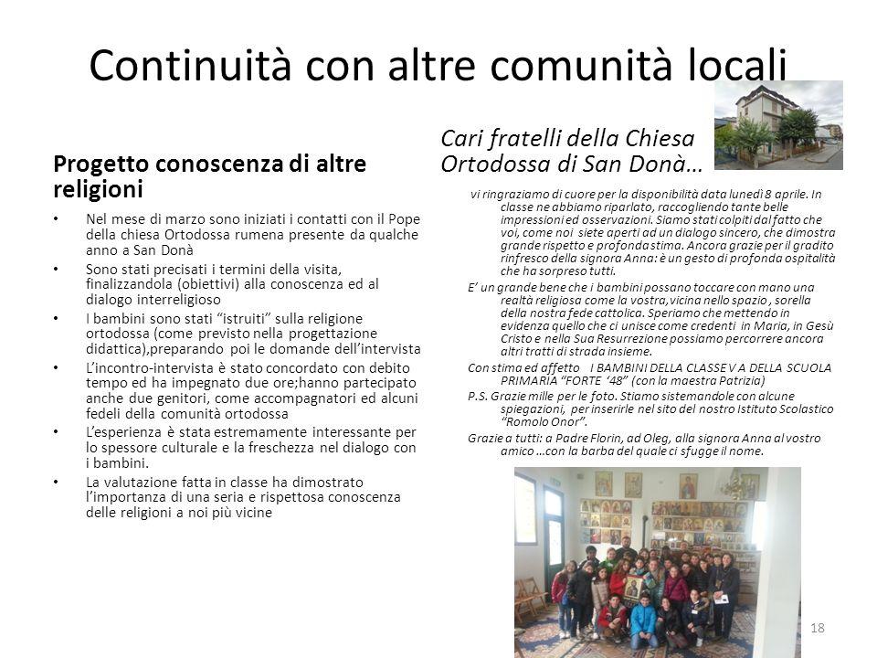 Continuità con altre comunità locali