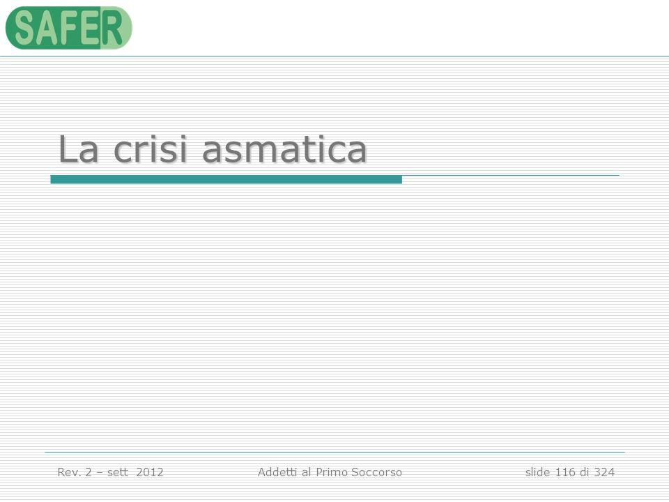 La crisi asmatica Anatomia e fisiologia dell'apparato respiratorio