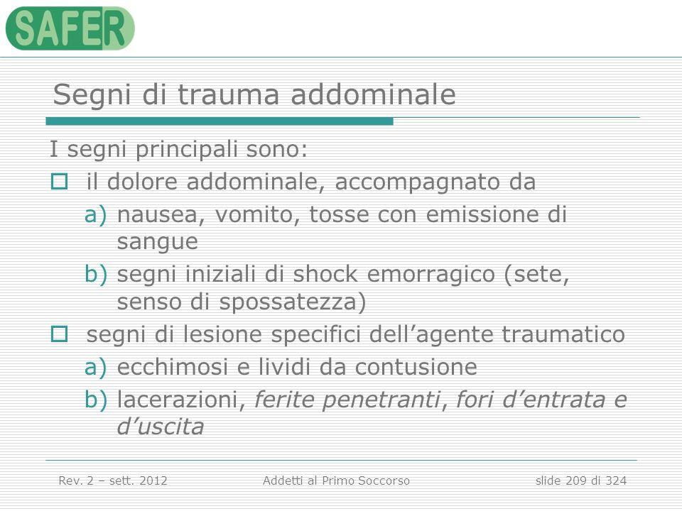 Segni di trauma addominale