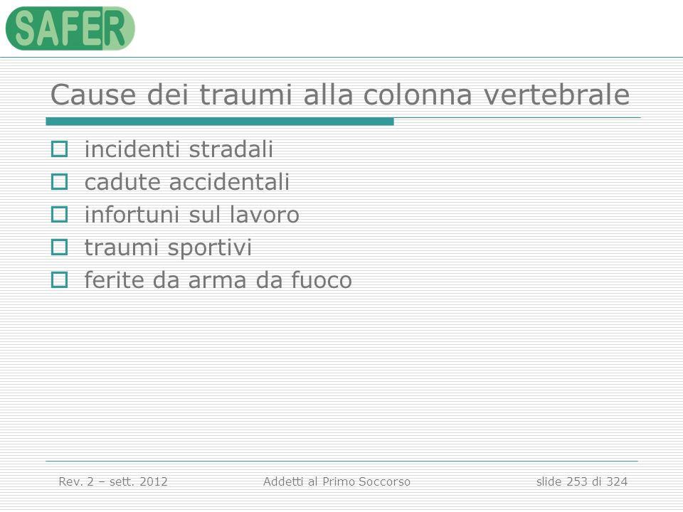 Cause dei traumi alla colonna vertebrale