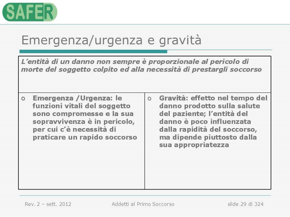 Emergenza/urgenza e gravità