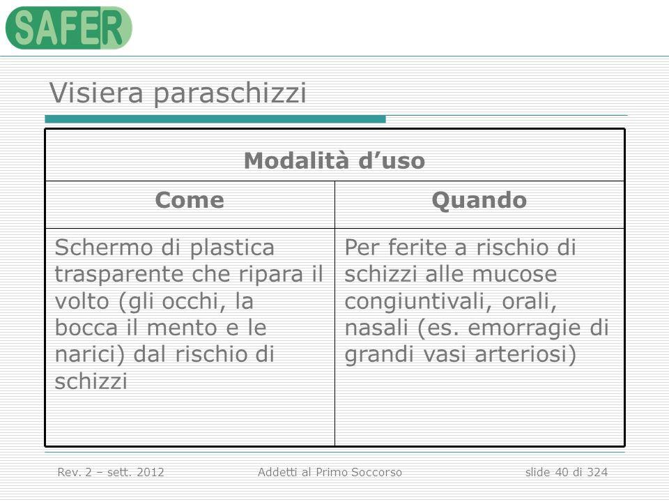 Visiera paraschizzi Per ferite a rischio di schizzi alle mucose congiuntivali, orali, nasali (es. emorragie di grandi vasi arteriosi)