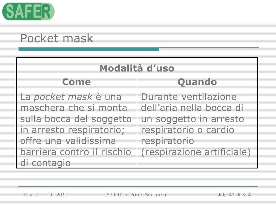 Pocket maskDurante ventilazione dell'aria nella bocca di un soggetto in arresto respiratorio o cardio respiratorio (respirazione artificiale)