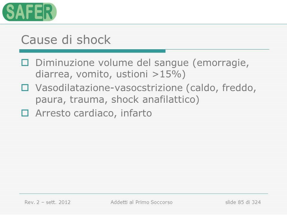 Cause di shock Diminuzione volume del sangue (emorragie, diarrea, vomito, ustioni >15%)