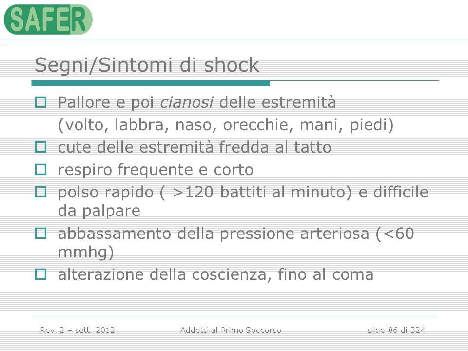 Segni/Sintomi di shock