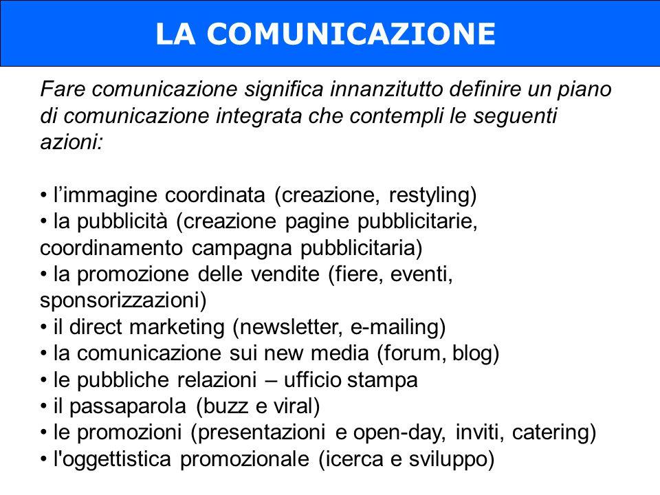 LA COMUNICAZIONE Fare comunicazione significa innanzitutto definire un piano di comunicazione integrata che contempli le seguenti azioni:
