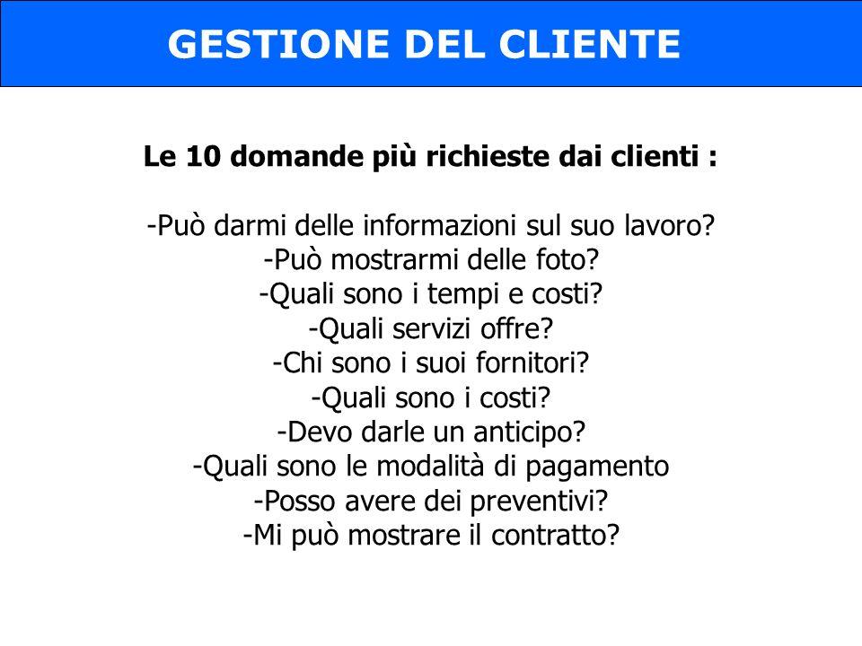 Le 10 domande più richieste dai clienti :