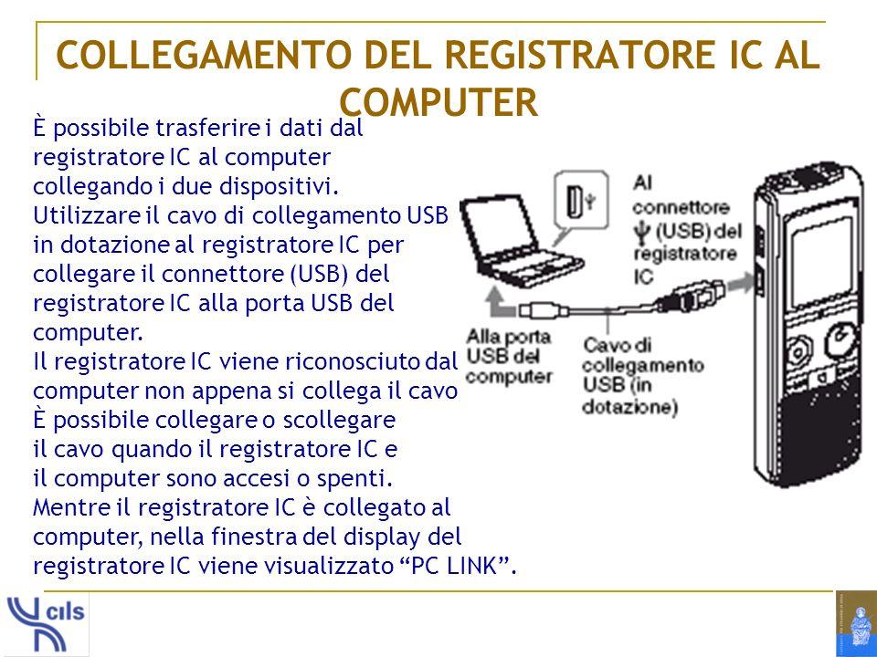 COLLEGAMENTO DEL REGISTRATORE IC AL COMPUTER