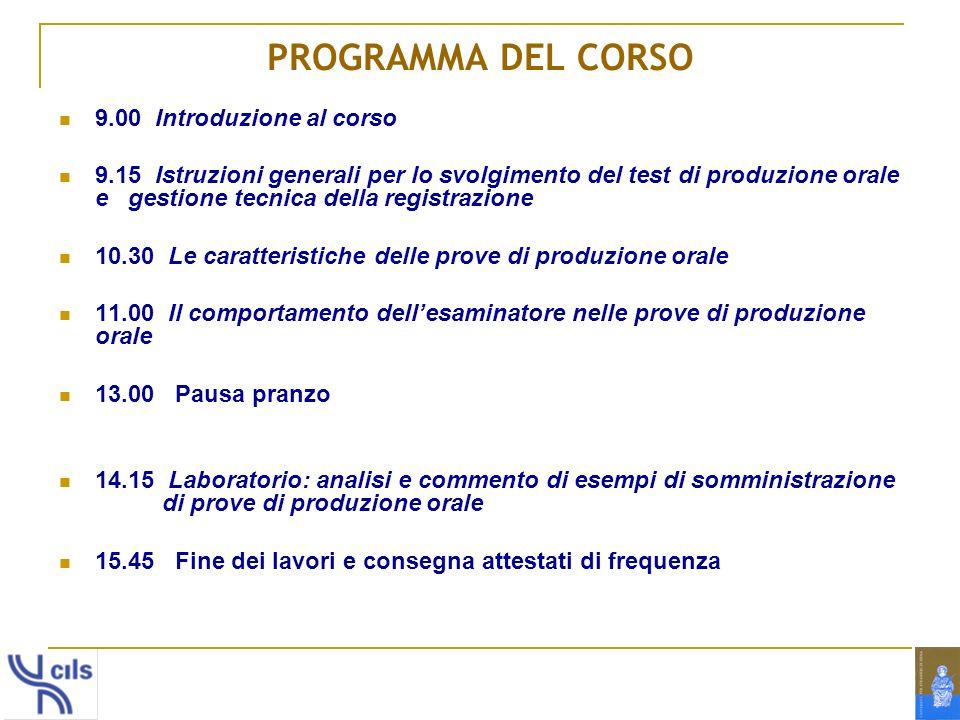 PROGRAMMA DEL CORSO 9.00 Introduzione al corso