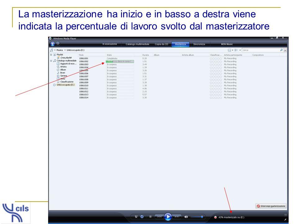 La masterizzazione ha inizio e in basso a destra viene indicata la percentuale di lavoro svolto dal masterizzatore
