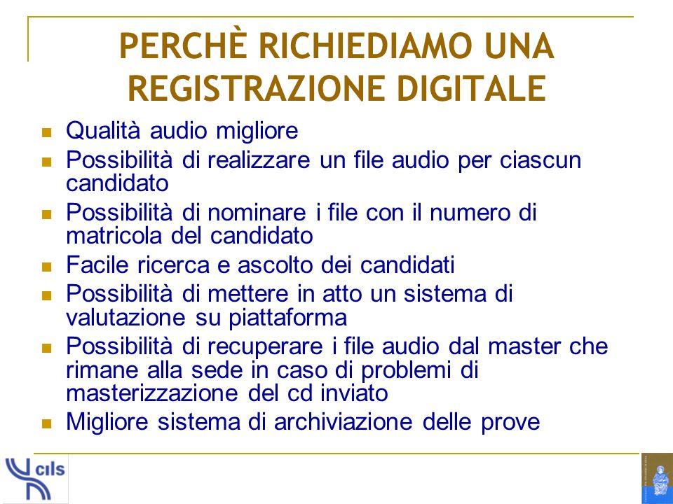 PERCHÈ RICHIEDIAMO UNA REGISTRAZIONE DIGITALE
