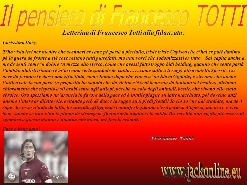 Letterina di Francesco Totti alla fidanzata:
