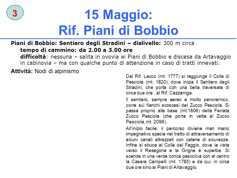 15 Maggio: Rif. Piani di Bobbio