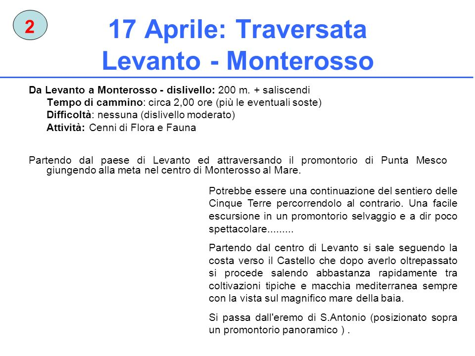 17 Aprile: Traversata Levanto - Monterosso