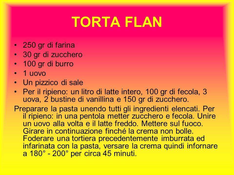 TORTA FLAN 250 gr di farina 30 gr di zucchero 100 gr di burro 1 uovo
