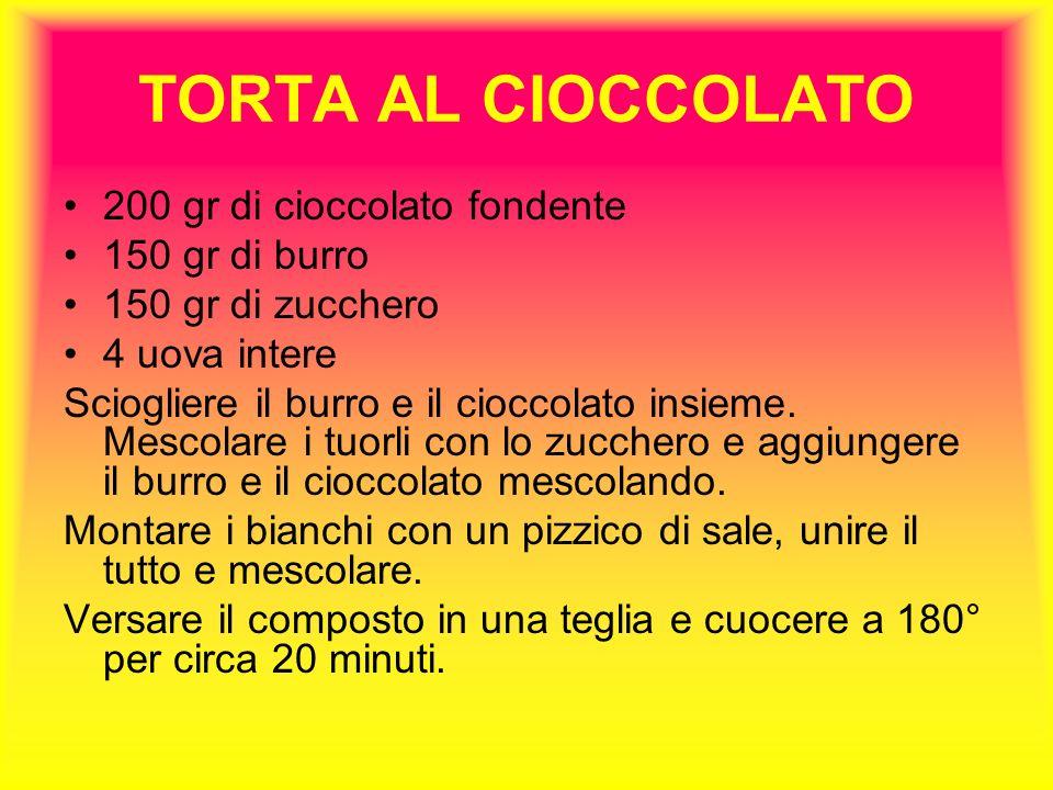 TORTA AL CIOCCOLATO 200 gr di cioccolato fondente 150 gr di burro