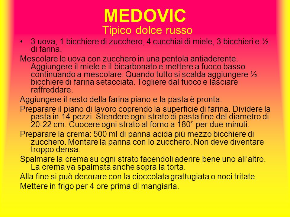 MEDOVIC Tipico dolce russo