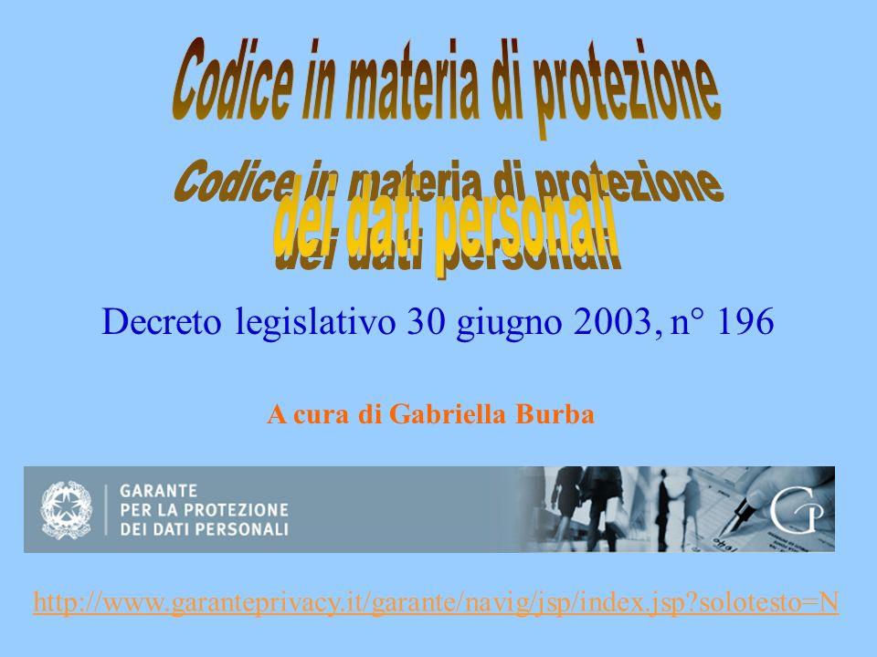 Decreto legislativo 30 giugno 2003, n° 196