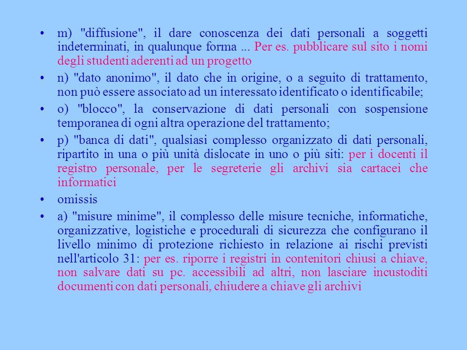 m) diffusione , il dare conoscenza dei dati personali a soggetti indeterminati, in qualunque forma ... Per es. pubblicare sul sito i nomi degli studenti aderenti ad un progetto