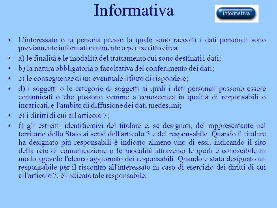 Informativa L interessato o la persona presso la quale sono raccolti i dati personali sono previamente informati oralmente o per iscritto circa: