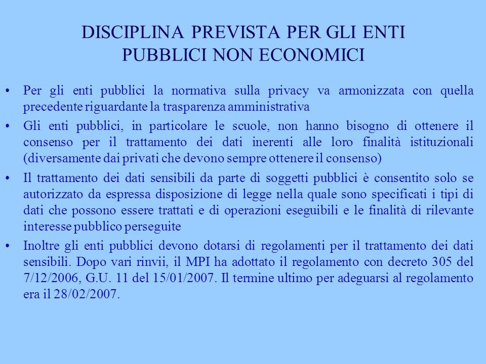 DISCIPLINA PREVISTA PER GLI ENTI PUBBLICI NON ECONOMICI