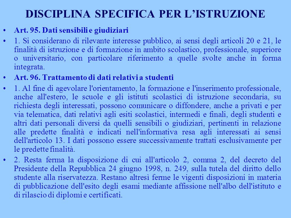 DISCIPLINA SPECIFICA PER L'ISTRUZIONE