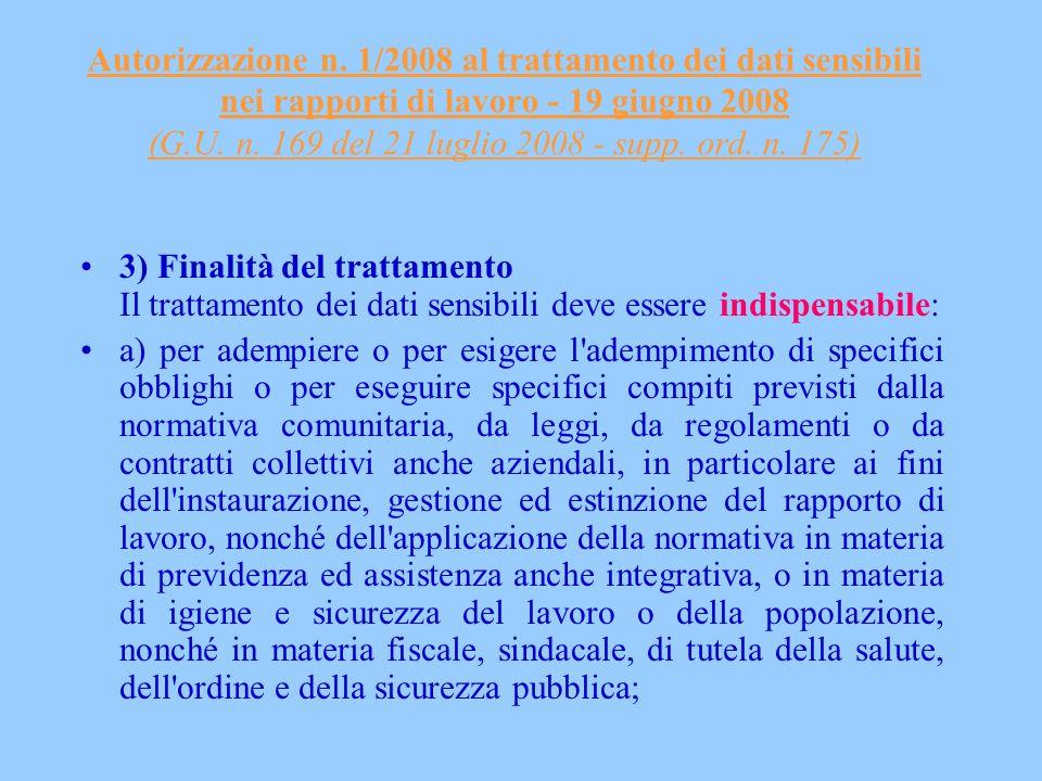 Autorizzazione n. 1/2008 al trattamento dei dati sensibili nei rapporti di lavoro - 19 giugno 2008 (G.U. n. 169 del 21 luglio 2008 - supp. ord. n. 175)
