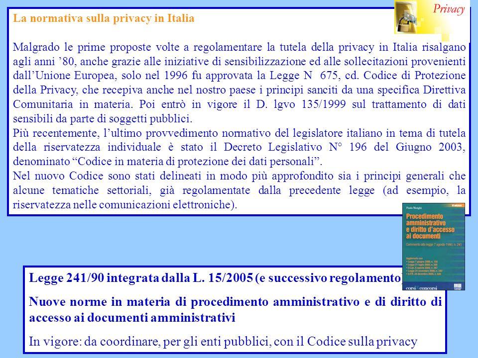 Legge 241/90 integrata dalla L. 15/2005 (e successivo regolamento)