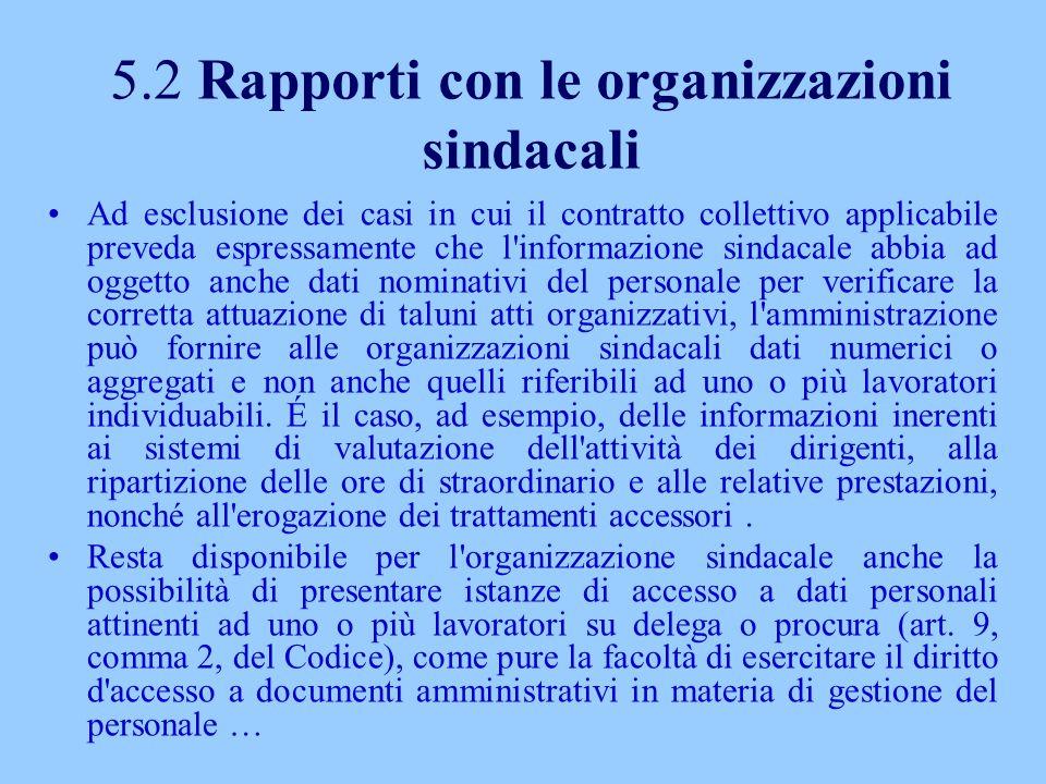 5.2 Rapporti con le organizzazioni sindacali