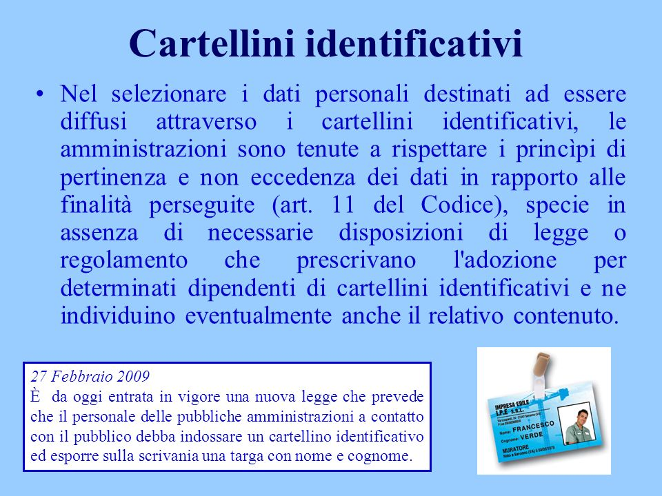 Cartellini identificativi