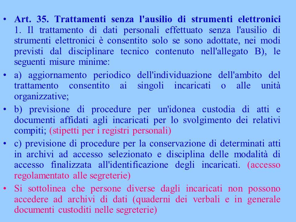 Art. 35. Trattamenti senza l ausilio di strumenti elettronici 1