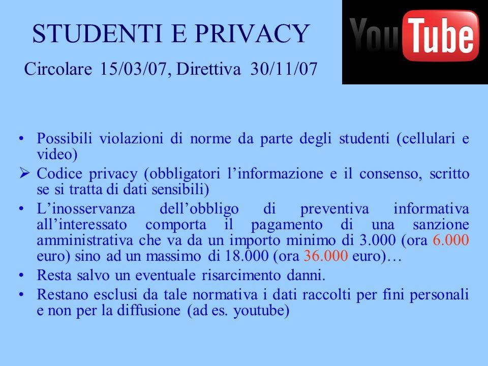 STUDENTI E PRIVACY Circolare 15/03/07, Direttiva 30/11/07
