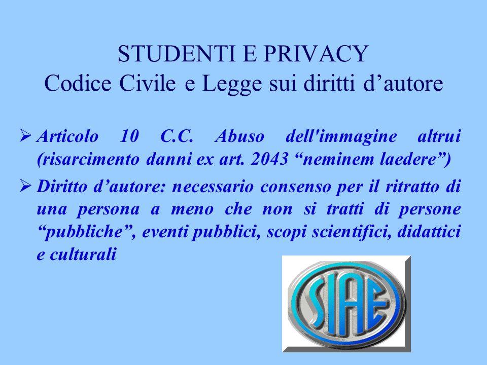 STUDENTI E PRIVACY Codice Civile e Legge sui diritti d'autore