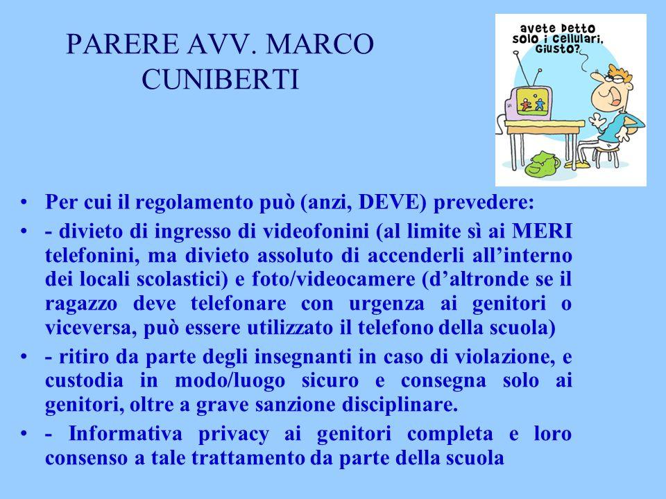 PARERE AVV. MARCO CUNIBERTI
