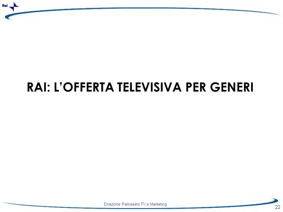 RAI: L'OFFERTA TELEVISIVA PER GENERI