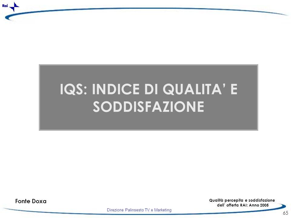 IQS: INDICE DI QUALITA' E SODDISFAZIONE