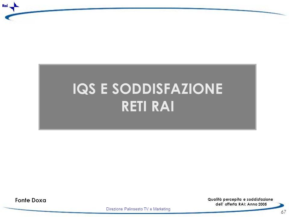 Qualità percepita e soddisfazione dell' offerta RAI: Anno 2005