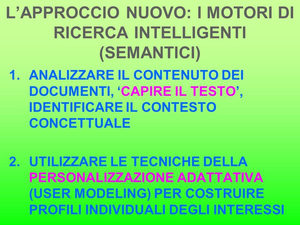 L'APPROCCIO NUOVO: I MOTORI DI RICERCA INTELLIGENTI (SEMANTICI)