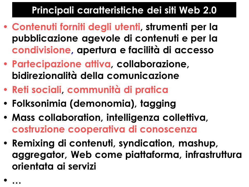 Principali caratteristiche dei siti Web 2.0