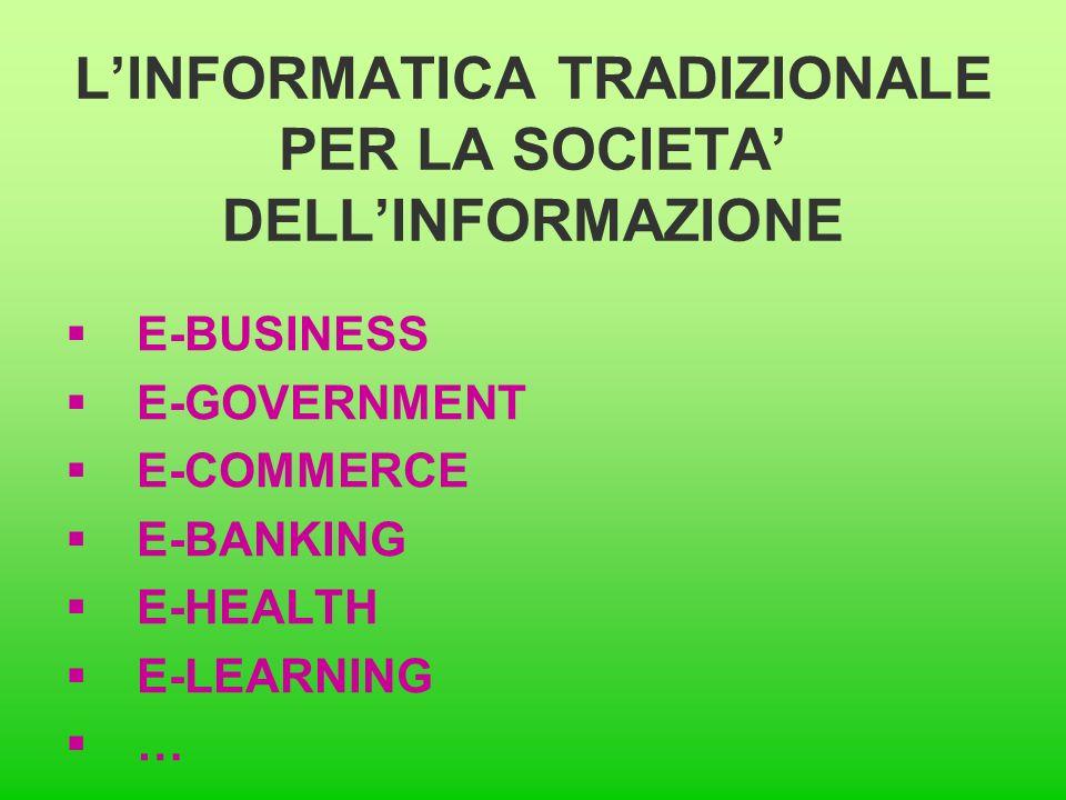 L'INFORMATICA TRADIZIONALE PER LA SOCIETA' DELL'INFORMAZIONE