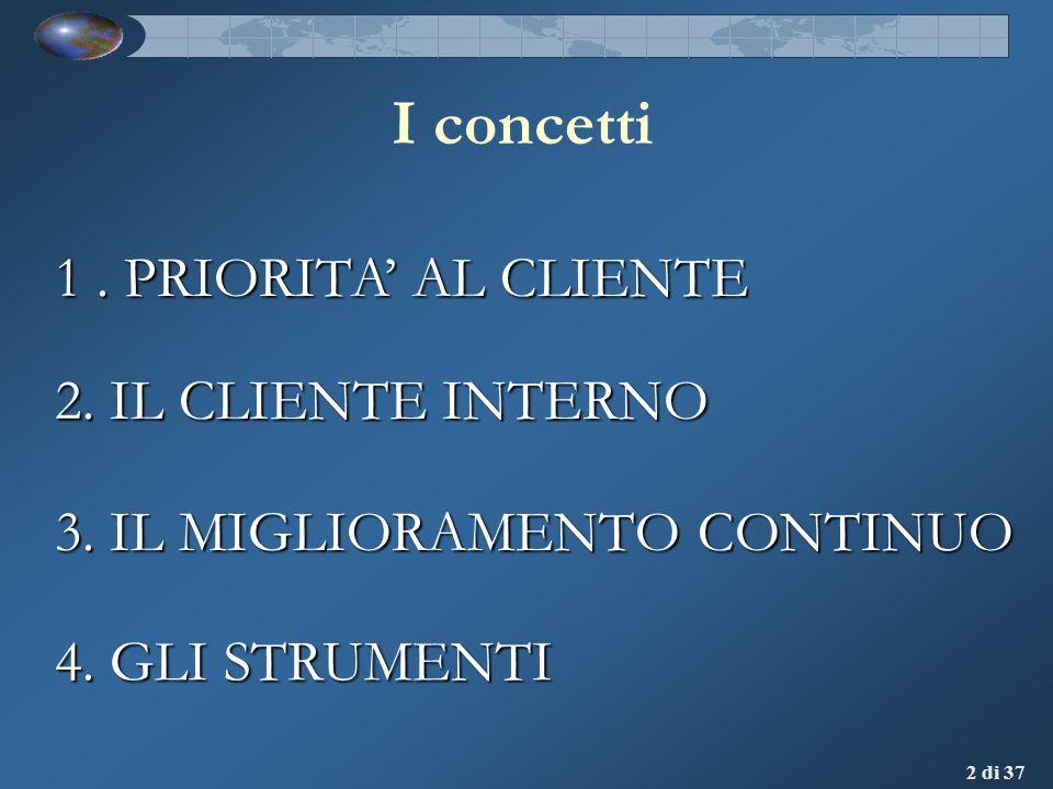 I concetti 1 . PRIORITA' AL CLIENTE 2. IL CLIENTE INTERNO