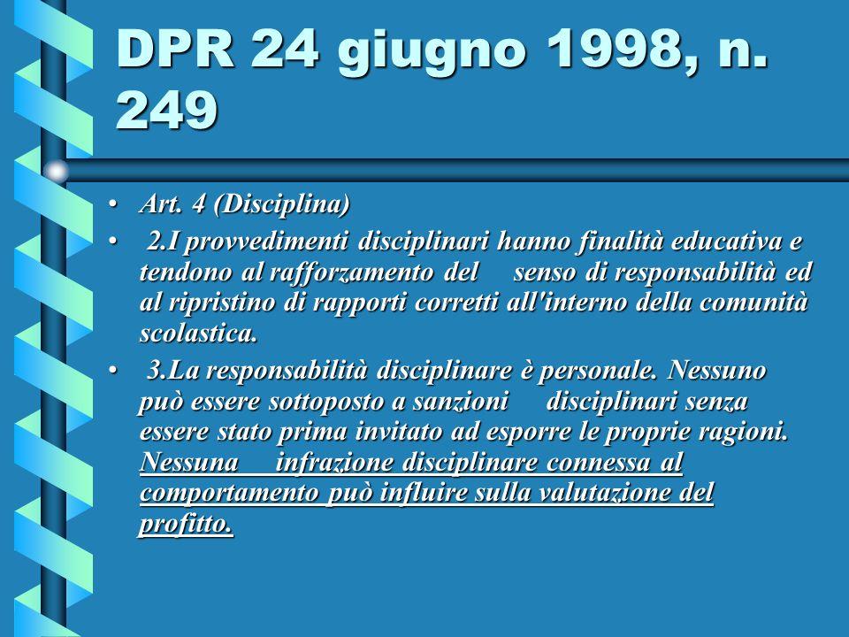 DPR 24 giugno 1998, n. 249 Art. 4 (Disciplina)